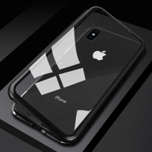 Delive Fashion Ultra Magnetic Adsorption Phone Case Tempered Glass Cover back Phone Case for iPhone X case