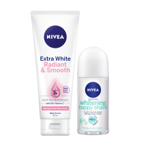 NIVEA Body Serum Extra White Radiant & Smooth 180ml + Deodorant Whitening Happy Shave Roll On 50ml