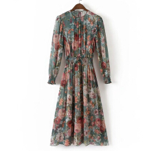 Autumn female retro print dress long sleeve O-neck casual chiffon dress