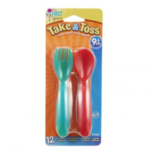 The First Years Take & Toss Toddler Flatware 12 Pcs - Red