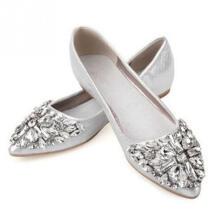 Jantens Rhinestone pointed toe flat heel shoes woman single shoes women fashion women flat shoes