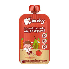 PEACHY Puree Tomato, Carrot & Pear Pouch - 110gr