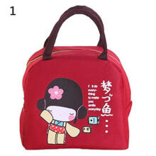 Farfi Cute Cartoon Japanese Girl Waterproof Thermal Insulated Picnic Lunch Box Pouch