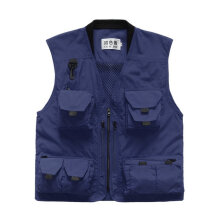 COZIME Spring Summer Men Outdoor Fishing Vest Multi-pocket Photography Mesh Blue XXL