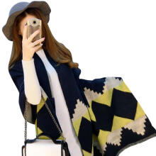 Farfi Women Ethnic Rhombic Plaid Pattern Scarf Faux Cashmere Thick Long Scarves Shawl