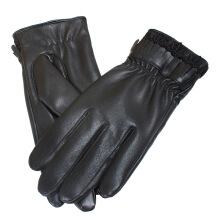 SiYing Simple Full finger gloves lace fashion riding driving plus velvet gloves Black