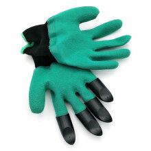 [COZIME] Safety Work Garden Gloves With Fingertips Planting Gardening Tools Mittens Black & Green1