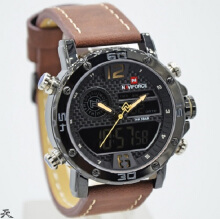 Naviforce Jam Tangan Pria -D44H185NF9134CKTKNG -Dual Time -Leather Srap-Coklat Kuning Brown