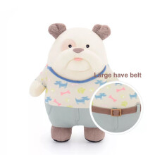 Metoo 25cm Cute cartoon metoo bulldog boss costume dog dolls Plush Toys Stuffed Animal doll White