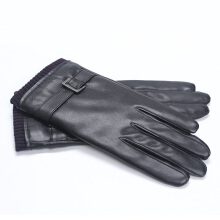 SiYing fashion leather gloves plus velvet thick couple driving riding gloves