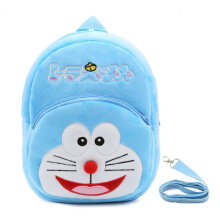 [kingstore] Cute Cartoon Kids Plush Backpack Toy Mini School Bag with Anti-lost Leash Blue
