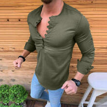 Men's Baggy Cotton Linen Solid Long Sleeve Retro T Shirts Tops Blouse