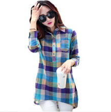 Jantens Slim long-sleeved plaid shirt long bottom shirt shirt women fashion clothes large size