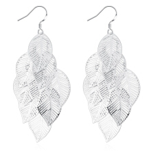 SESIBI New Hollow Multilayer Leaf Earrings For Women Fashion Retro Feather Tassels long Earrings - Silver