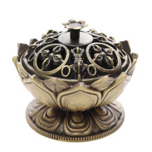 Chinese Lotus Flower Incense Burner Holder Handmade Censer Buddhist Home Decor Tan