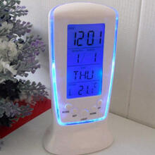 Farfi LED Digital Alarm Clock with Blue Backlight Electronic Calendar Thermometer as the pictures