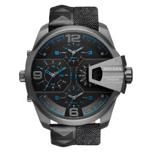 Diesel DZ7393 Uber Chief 4 Time Zones Oversized Men Black Dial Black Cloth Strap [DZ7393]