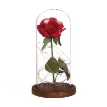 Farfi Artificial Red Rose Flower LED Lighting Wooden Base Glass Dome Home Decoration