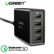 UGREEN QC3.0 Charger 4 Ports Quick Charge 3.0 Charger for Samsung, Xiaomi, Redmi, INFINIX, LG, ASUS Zenfone USB Charging Dock 40W QC3.0 Fast Charge Black