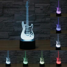 Farfi 3D Electric Guitar Lamp LED 7 Color Changing USB Touch Sensor Desk Night Light Black