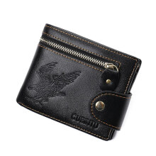 klemoo New Quality Hasp Zipper Black Color Men Wallets Eagle Printsl PU Leather Coin Pocket Bit Credit Card Holder Wallet