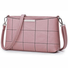[LESHP]Women Solid Color Small Envelope Bag Soft PU Leather Casual Messenger Pink