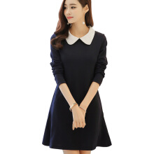 Yu Mu Korean women's fashion slim slimming doll collar long sleeve dress