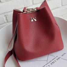 [LESHP]Women Soft PU Leather Single Shoulder Bag Lovely Bowknot Crossbody Red