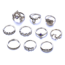 10 Pcs Bohemian Vintage Ring Set Charm Hollow Geometric Fatima Hand Jewelry Set Trail-blazer21 Silver One Size