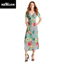 Newlan Q13 Summer Women Fashion Chiffon Print V-neck Lace Maxi Dress