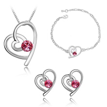 SESIBI 4pcs/lot Romantic Crystal Heart Pendant Necklace Earrings Bracelet Sets For Women Jewelry - Red