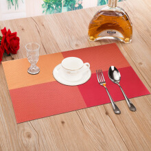 Green reed European-style insulation mats pvc insulation mats Western table table orange box 4 pieces