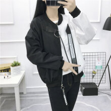 Fashionable Baseball Jacket Patchwork Casual Loose Oversize Woman Fit Coat White L