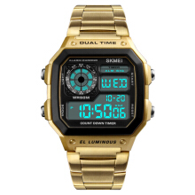 SKMEI 1335 Digital Watch Men Chronograph Alarm Watch Fashion Style Stainless Steel Sport Watch Gold