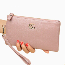 Jantens Slim card mobile phone rack multi-function brand designer fashion wallet long handbag Pink