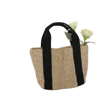 Black and white Women's Retro Fashion Embroidery Cane Grass Woven Beach Bag black handle