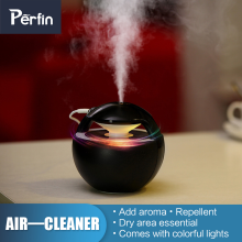 Perfin 450mL humidifying ball with lamp aromatherapy electric diffuser Mini USB air humidifier Black