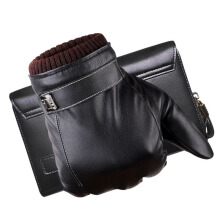 SiYing Men's fashion business leather plus velvet import gloves touch screen couple gloves-Black