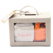 Cribcot Gift Set Booties Plain Orange & Mitten Baby Girl Milk Choco Light Orange