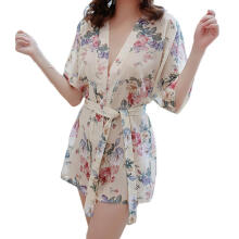 Farfi Women Sexy V-Neck Floral Printing Short Sleeve Lace Up Tied Night Robe Sleepwear Beige One Size