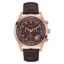 Guess World Time Chronograph U0500G3 Brown Dial Brown Leather Strap [U0500G3]