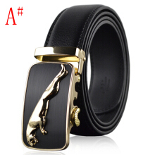 SESIBI Men Wild Leopard Automatic Buckle Pants Leather Waist Belts Business Cowskin One Size - Black