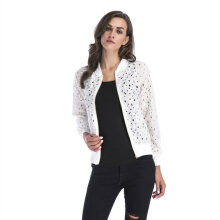 Zipper Jacket Woman Long-sleeved Jacket Lace Openwork Long Sleeve Blouse white M