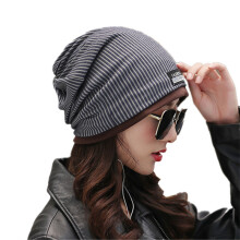 SiYing Fashion Vertical Stripe Plus Warm Women's Cap