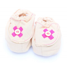 Cribcot Booties with Ribbon - Milk Choc & Hot Pink Size 0-3M