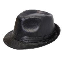 British Style Simple All-Match PU Leather Hat Formal Hat With Curling Verge