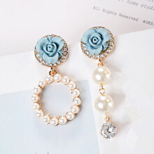 Jantens 2018Korean Temperament Flower Earrings Rhinestone  Women Fashion Jewelry