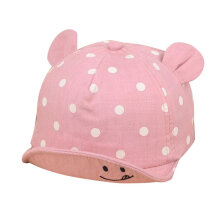 [OUTAD] Lovely Dot Pattern Kids Baseball Cap Unisex Adjustable Smile Embroided Sunhat Pink