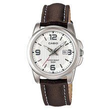 Casio LTP-1314L-7AVDF - Enticer Ladies - White Dial Ion Plated Brown Leather Strap [LTP-1314L-7AVDF]