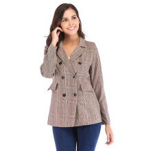 DAVID777 New boutique women's retro gray plaid jacket double-breasted small blazer